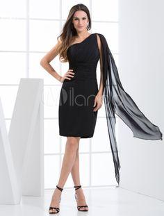 Robe de soirée de retrouvaille fourreau noire à une épaule faite en moussline de soie - Milanoo.com