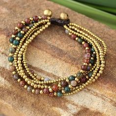 Shop for Handmade Brass Joy Multicolor Jasper Beaded Style Adjustable Bracelet (Thailand). Get free delivery On EVERYTHING* Overstock - Your Online Jewelry Destination! Beaded Jewelry Designs, Seed Bead Jewelry, Jewelry Making Beads, Jewelry Patterns, Bracelet Designs, Jewelry Necklaces, Jewelry Trends, Jewelry Ideas, Jewlery