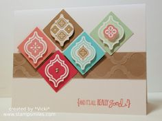 handmade card ... clean and simple design ... inchies placed on the diagonal to form diamonds pattern ... like the tile look ... Stampin' Up!