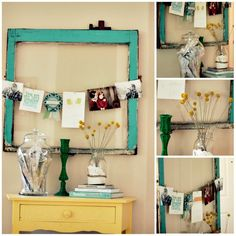 clothesline of photo hung on frame. vintage chic photography display