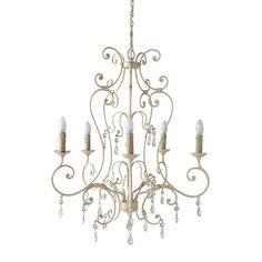 Lampadario beige 5 bracci in metallo e vetro con pendenti D 76 cm CONTIGNY