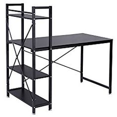 Tangkula computer desk compact desk with 4 shelves Home office study table (Black)