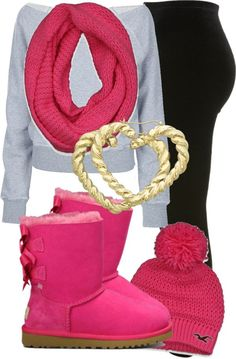 A gray sweater with a pare of black tits a pare of pink boots a pink hat to mash the boots and a pink scarf to mash the boots.