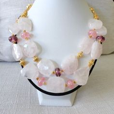 bold chunky beaded statement necklace, rose quartz  24k gold vermeil & lampwork bead, seed bead jewelry, fine gemstone jewelry gold necklace by veroniquesjewelry. Explore more products on http://veroniquesjewelry.etsy.com