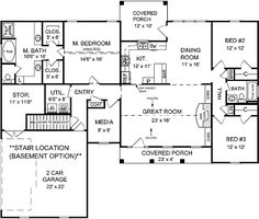 Traditional Home Plan with Split Bedrooms - 5119MM   1st Floor Master Suite, CAD Available, Corner Lot, Media-Game-Home Theater, PDF, Photo Gallery, Split Bedrooms, Traditional, USDA Approved   Architectural Designs