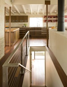 """18 Kitchen With Dark Wood Cabinets Design Ideas : Kitchen redesign is the best investment no matter what state or region you are in. checkout Kitchen With Dark Wood Cabinets Design Ideas"""". Open Basement Stairs, Stairs In Kitchen, Open Stairs, Glass Stairs, Loft Kitchen, Glass Railing, Modern Stair Railing, Stair Railing Design, Cable Railing"""