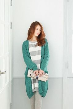 Montny Loose Long Cardigan   Korean Fashion