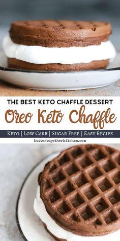 Oreo Keto Chaffle - Delicious sweet treat keto oreo chaffle that takes only. - Oreo Keto Chaffle - Delicious sweet treat keto oreo chaffle that takes only. Keto Desserts, Keto Friendly Desserts, Dessert Recipes, Holiday Desserts, Dinner Recipes, Breakfast Recipes, Quick Keto Dessert, Keto Sweet Snacks, Keto Snacks To Buy