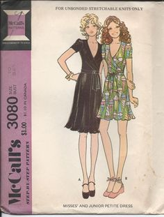 1970s Vintage Misses' WRAP DRESS with Short Sleeves by SewKnotMe, $6.00