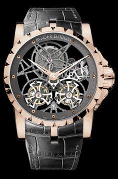 Roger Dubuis, Excalibur Doble Tourbillon Volante Esqueleto en Oro Rosa http://www.youtube.com/watch?feature=player_embedded=JXFUtYByNYw