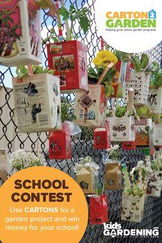 The Carton 2 Garden Contest is a school contest for repurposing milk cartons and juice cartons into a garden structure. Transform milk cartons to win! Backyard Garden Design, Backyard For Kids, Backyard Landscaping, Garden Projects, Projects For Kids, Chelsea Garden, Easy Garden, Easy Diy Crafts, Garden Styles