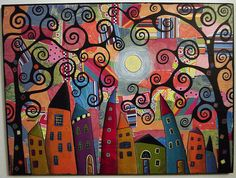 Folk Art Houses and Swirl Trees with a moon mixed media collage painting with printed papers and acrylic paint by karla gerard Folk Art Acrylic Paint, Karla Gerard, Arte Popular, Naive Art, Illustrations, Outsider Art, Whimsical Art, Medium Art, Art Forms