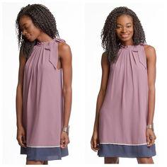 High neck tied dress Mauve color block dress, full lined Dresses Mini