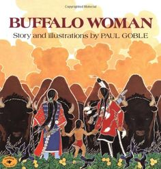 Author & Illustrator: Paul Goble A young hunter draws his bow against a buffalo cow drinking from a stream. Before he can loose his arrow, there is no buffalo -- instead, there stands a beautiful young woman, whom he knows he must marry. The hunter' Native American History, Native American Indians, Native Americans, Jpg, First Nations, Childrens Books, Kid Books, Nativity, Buffalo