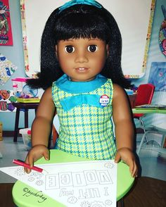I didn't have Melody when all of my dolls had their school pics done. So she had hers today!! #beforever #agig #americangirl #americangirlbrand #famousdolls #adultdollcollector #melodyellison #liftyourvoice #joy2everygirl