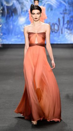 Orange | Naeem Khan Fall/Winter 2015: Naeem Khan is a true master of the gownand by doing this ombre gown in shades of orange, he caughtour eyes and hearts. via @stylelist | http://aol.it/18eulUf