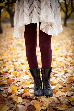 Fall Layers with lots of texture. I love the half laced up boots and cute red tights!