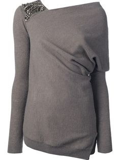 PATRIZIA PEPE Embellished Asymmetric Sweater