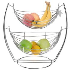Fruit Basket Hammock & Stand~ 2 Tier Metal Basket Rack~Keeps Produce Fresh