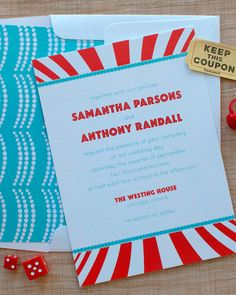 Inspired by the glitz and glam of the big top, this carnival-themed Delphine Pressinvite sets the mood for a fun-filled wedding.