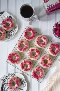 Raspberry-Dusted Lemon Donuts via Unusually Lovely