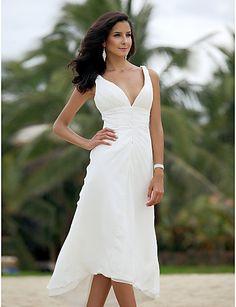 White chiffon beach wedding dress/tea length short wedding dresses/short prom dress/wedding party dress/ball gown/evening/romantic dress on Etsy, $178.00