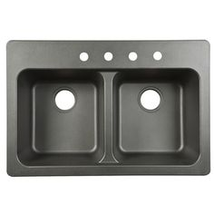 Franke USA Frankeusa 33-in x 22-in Double-Basin Composite Drop-In or Undermount Kitchen Sink