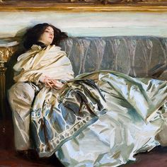 A lady draped in a cashmere shawl. Repose by John Singer Sargent. 1911