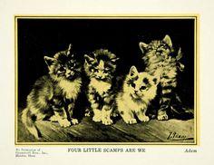 1927 Print Julius Adam II Younger Art Four Little Scamps Kitten Cat Pet PSG1