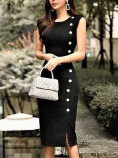 Stylewe Midi Dress Bodycon Party Dress Sleeveless Elegant Slit Solid Dress Source by jamattsmom party Trendy Dresses, Tight Dresses, Elegant Dresses, Casual Dresses, Fashion Dresses, Dresses For Work, Midi Dresses, Sexy Dresses, Beautiful Dresses