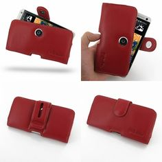 PDair Leather Case for The New HTC One 801e 801s - Horizontal Pouch Type (Red)
