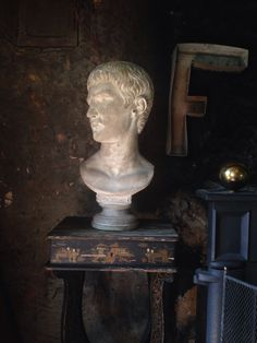 Chinoserie pedestal with bust