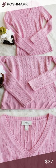 Ann Taylor LOFT V-Neck Sweater, Size XS Ann Taylor LOFT V-Neck super soft sweater. %48 Acrylic, %44 Nylon, %8 Rabbit Hair. Soft pink color. Size XS. Like New in Excellent Condition. LOFT Sweaters V-Necks