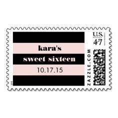 Blush Pink & Black Retro Stripe Sweet Sixteen