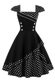 Buttoned Polka Dot Vintage Corset Dress - Black M Knee-Length A-Line Vestidos Vintage Retro, Retro Vintage Dresses, Vintage Mode, Retro Dress, Vintage Outfits, 1950s Dresses, 50s Vintage, Corset Dresses, Vintage Trends