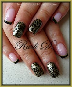 Black French, Gold Swirls