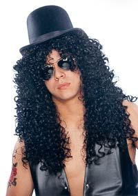Deluxe Black Curly Rocker Wig – Costume Wigs « Mutant Faces