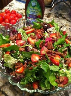 Strawberry, Feta, and Sugared Pecan Salad.  Simple and a real hit at spring dinnners and holidays!