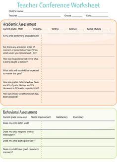 Teacher Conference Worksheet  http://imom.com/tools/get-organized/teacher-conference-worksheet/  #parentteacherconference