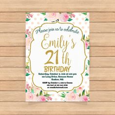 21th birthday invitation Woman Gold  Watercolor by CoolStudio