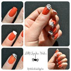 Acrylic nail art 211528513734474011 - nail art Halloween facile tuto-toile-araignée Source by colormania Easy Nail Art, Cool Nail Art, Short Nail Designs, Nail Art Designs, Nail Art Debutant, Nail Art Original, Diy Nails, Manicure, Halloween Nail Art