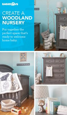 The dream nursery…take it step by step! First, choose a crib you love, plus a matching dresser (shown: Oxford Baby's Richmond collection). Next, the so-much-fun part: add a crib bedding set and matching décor to carry a theme, like a fave animal, sport, or even a color. Here, gray furniture and a #woodland theme work beautifully. #nurseryideas #babiesroom Nursery Décor, Nursery Ideas, Woodland Theme, Woodland Nursery, Gray Furniture, Man Room, Crib Bedding Sets, Toys R Us, Baby Fever