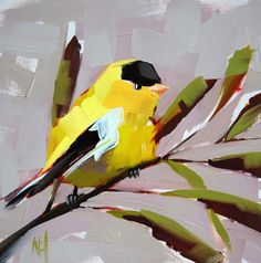 Yellow Warbler no. 24 original bird oil painting by moulton 8 x 8 inches on panel  prattcreekart on Etsy, $65.00