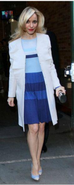 Who made  Rachel McAdams blue dress?