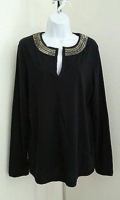 TORY BURCH Black Cotton Embellished Tunic Top Womens Sz XL Long Sleeve