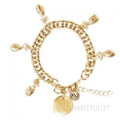 Monogrammed Pineapple Charm Bracelet