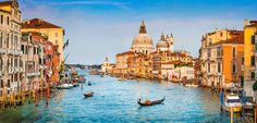 Photo about Panoramic view of famous Canal Grande and Basilica di Santa Maria della Salute at sunset in Venice, Italy. Image of cathedral, europe, idyllic - 46629460 Grand Canal, Scenery Photography, Background For Photography, Landscape Photography, Photography Backdrops, Architecture Byzantine, Piazza San Marco, Photos Panoramiques, Venice City