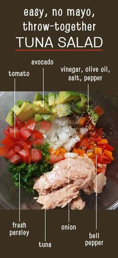 No mayo throw-together tuna salad. Nightshade-free options shown, too! Paleo, Wh… No mayo throw-together tuna salad. Nightshade-free options shown, too! Recipe 30, Rich Recipe, Easy Meal Prep, Paleo Meal Prep, Meal Planning, Healthy Eating, Healthy Cooking, Healthy Tuna Salad, Tuna Salad Recipes