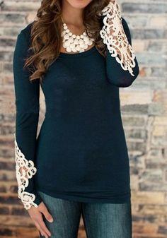 Blue Plain Lace Splicing Embellished Openwork Round Neck Long Sleeve Casual Stylish Cotton T-Shirt