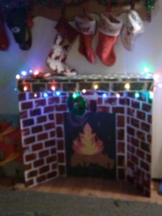 Make your own fireplace! All you need: poster board, construction paper, scissors, glue, and a ...